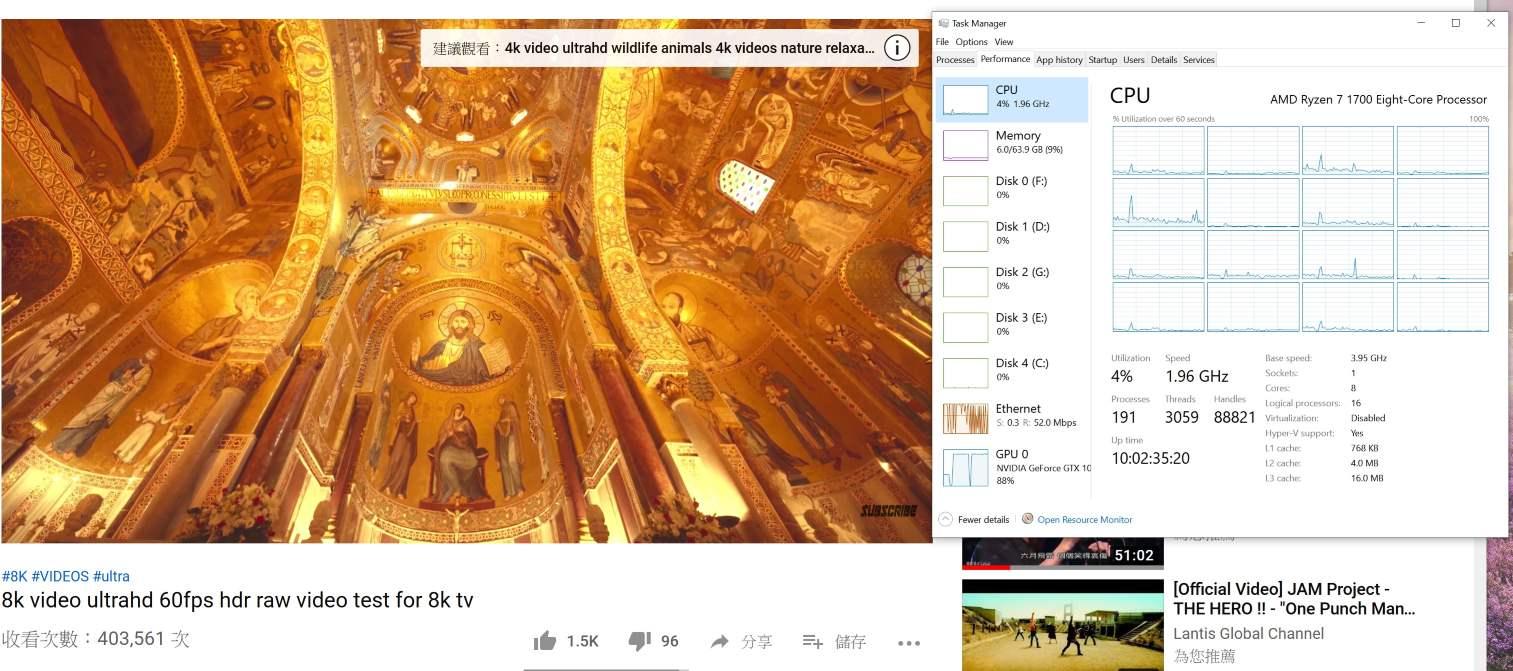 Intel Core vs AMD Ryzen 看YouTube HD/4k 效能- 系統組件- 電腦